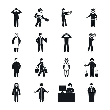 pictogram maid woman and essential workers icon set over white background, silhouette style, vector illustration Ilustracje wektorowe