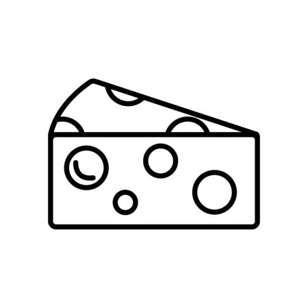 piece of cheese icon over white background, line style, vector illustration