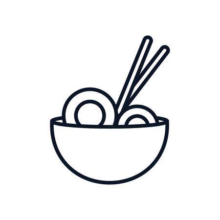 chopstick with dish japanese food icon vector illustration design