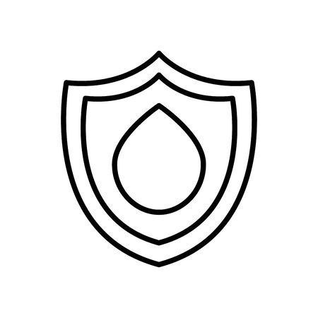 shield with water drop icon over white background, line style, vector illustration 일러스트