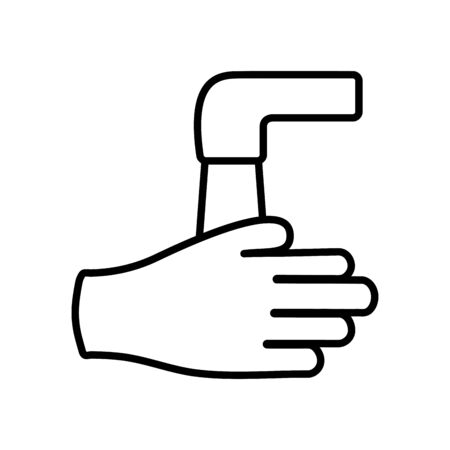 handwashing concept, water faucet and hand icon over white background, line style, vector illustration Vectores