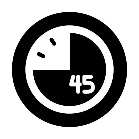 clock with 45 minutes over white background, silhouette style, vector illustration Vecteurs