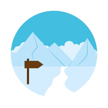 Snow landscape with wooden road sign over white background, flat style, vector illustration Illustration