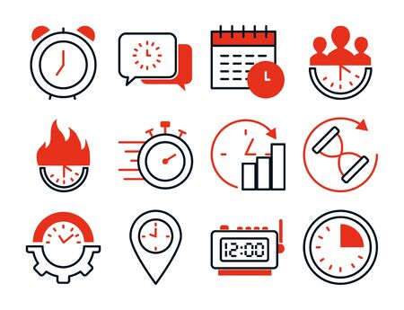 location pin and clock time icon set over white background, half line half color style, vector illustration