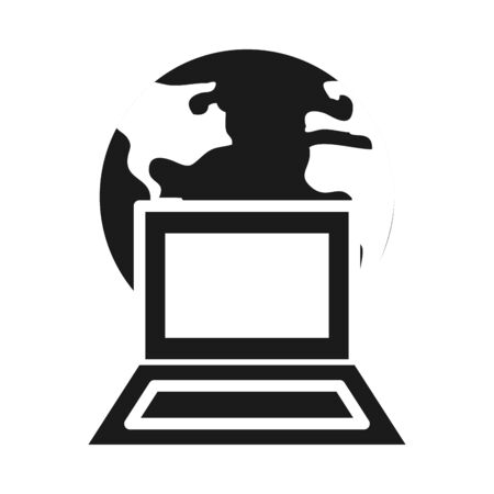 earth planet and laptop computer over white background, silhouette style, vector illustration