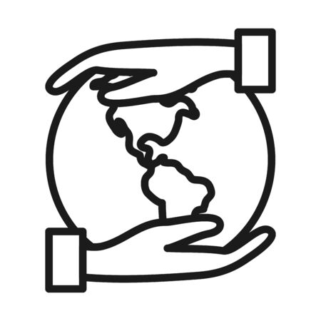 hands with earth planet icon over white background, line sytle, vector illustration