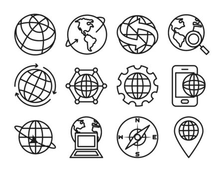 laptop computer and world icon set over white background, line sytle, vector illustration