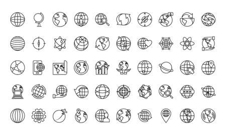 global and earth planet icon set over white background, line sytle, vector illustration Ilustração