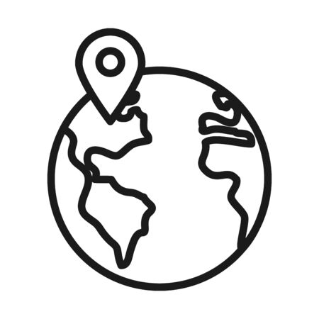 earth planet with location pin icon over white background, line sytle, vector illustration