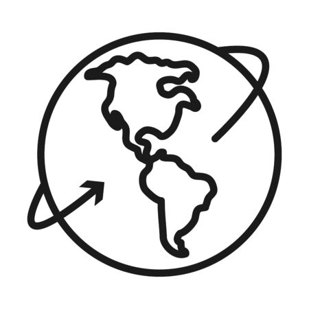 earth planet with arrow over white background, line style, vector illustration