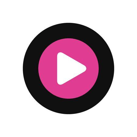 Play fill style icon design, Music movie cinema video film and media theme Vector illustration Illustration