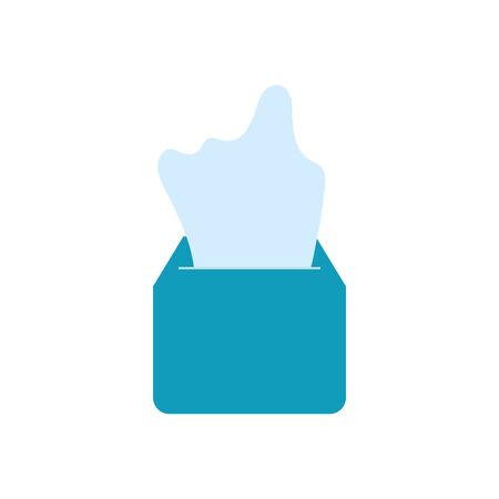 tissues box icon over white background, flat style, vector illustration