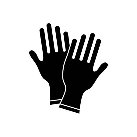 medical gloves icon over white background, silhouette style, vector illustration
