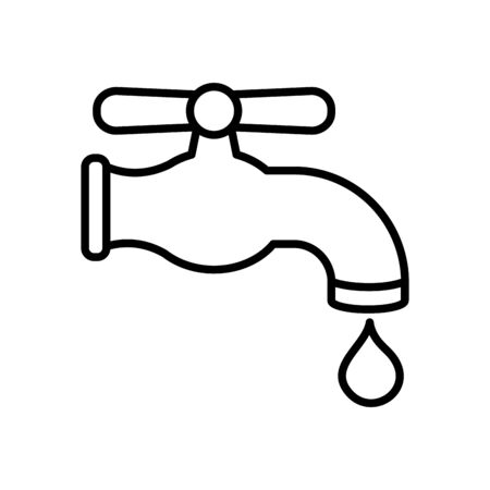 water faucet and drop icon over white background, line style, vector illustration Illustration