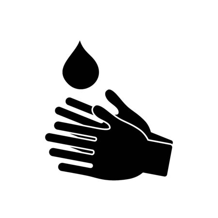water drop and hands icon over white background, silhouette style, vector illustration Çizim