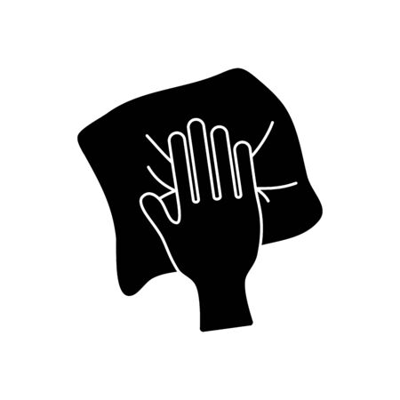 hand cleaning with tissue icon over white background, silhouette style, vector illustration Vektorgrafik