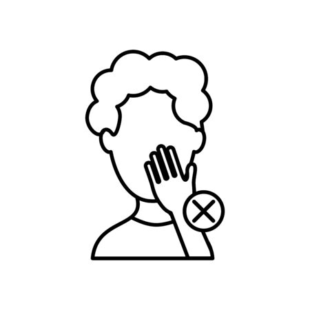 avatar man touching his face and prohibited cross over white background, line style, vector illustration