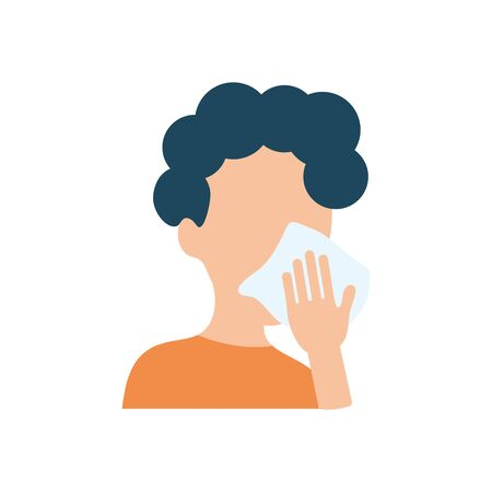 avatar man cleaning her mouth with tissue over white background, flat style, vector illustration