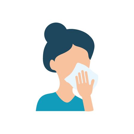 avatar woman cleaning her mouth with tissue over white background, flat style, vector illustration