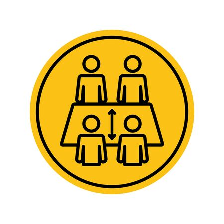 pictogram people at table keeping the distance over white background, block silhouette style, vector illustration 矢量图片