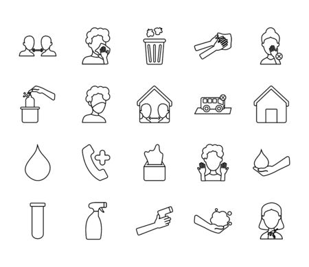water drop and coronavirus icon set over white background, line style, vector illustration