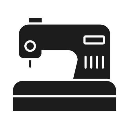 sewing machine icon over white background, silhouette style, vector illustration