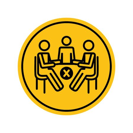 pictogram people sitting at table and prohibited cross icon over white background, block silhouette style, vector illustration 矢量图片