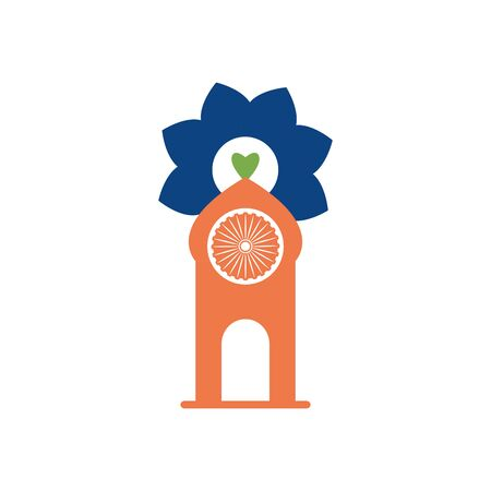 India independence day concept, den with flower and ashoka Chakra symbol icon over white background, flat style, vector illustration Illustration