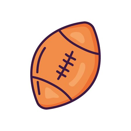 american football ball icon over white background, line color style, vector illustration