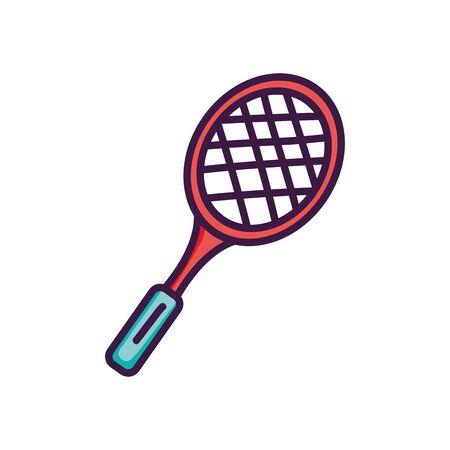 tennis racket icon over white background, line color style, vector illustration Ilustración de vector