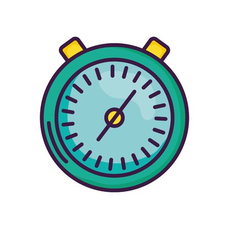 stopwatch icon over white background, line color style, vector illustration