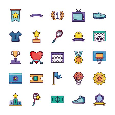retro television and game event icon set over white background, line color style, vector illustration Vector Illustration