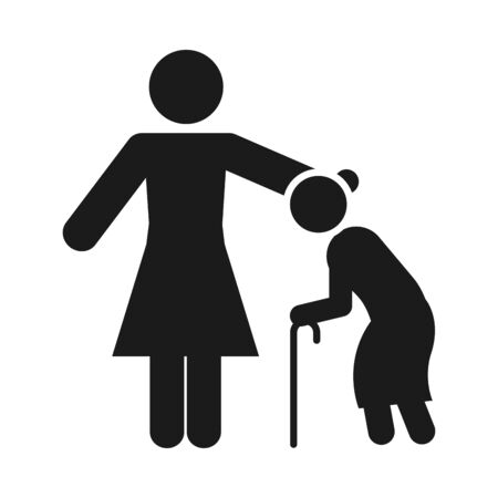 pictogram woman with old woman with a cane over white background, silhouette style, vector illustration Vettoriali