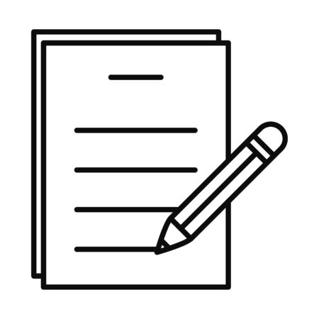 document page and pencil icon over white background, line style, vector illustration 矢量图像