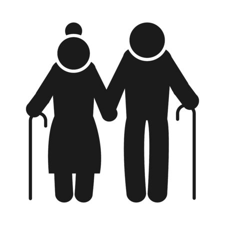 pictogram elderly couple icon over white background, silhouette style, vector illustration 矢量图片