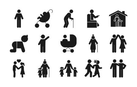 pictogram old people and people icon set over white background, silhouette style, vector illustration