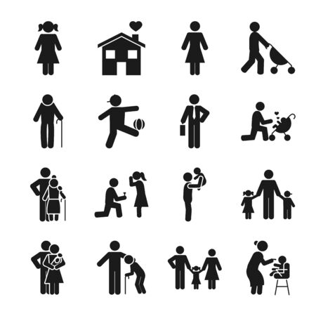 pictogram kids and people icon set over white background, silhouette style, vector illustration