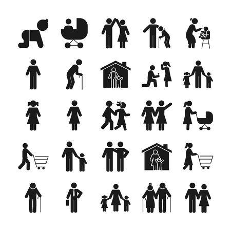 pictogramme personnes et icône de la famille sur fond blanc, style silhouette, illustration vectorielle