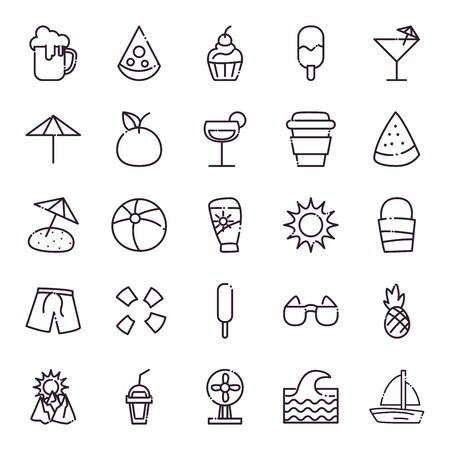 line style icon set design, Summer vacation and tropical theme Vector illustration