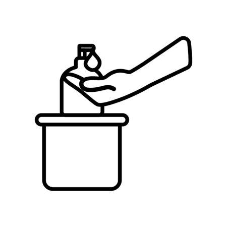 Bottle of liquid antibacterial soap with dispenser, Moisturizing sanitizer, Disinfection, hygiene, skin care concept, line style, Vector illustration