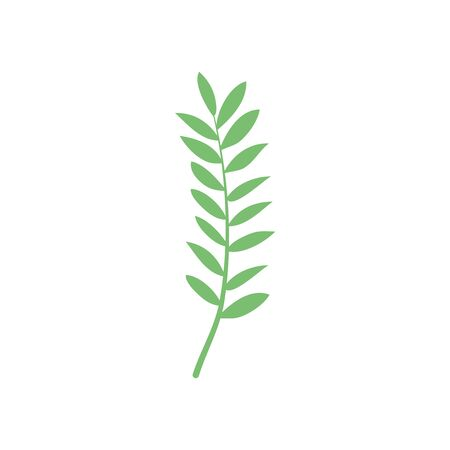 ash tropical leaf icon over white background, flat style, vector illustration Vettoriali