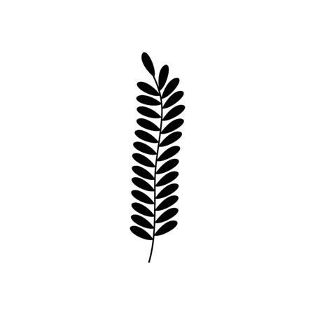 fern frod leaves icon over white background, silhouette style, vector illustration