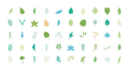 tropical leaves icon set over white background, flat style, vector illustration Vettoriali