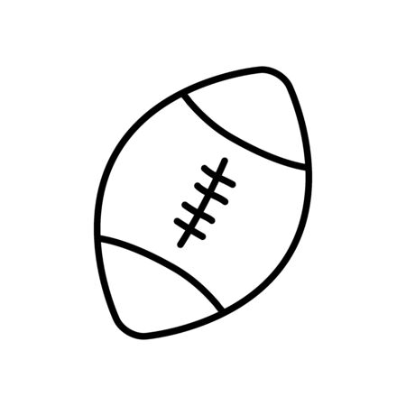 american football ball icon over white background, line style, vector illustration Stock Illustratie