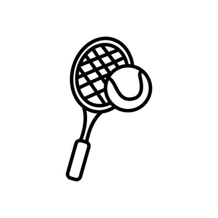 tennis ball and racket icon over white background, line style, vector illustration Vectores