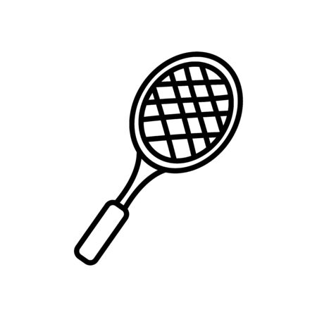 tennis racket icon over white background, line style, vector illustration Vectores
