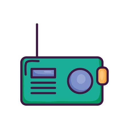 retro radio icon over white background, line color style, vector illustration