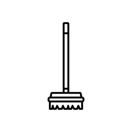 broom icon over white background, line style, vector illustration
