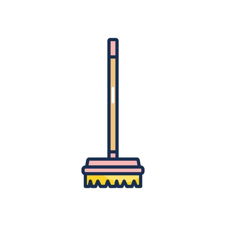 broom icon over white background, line fill style, vector illustration