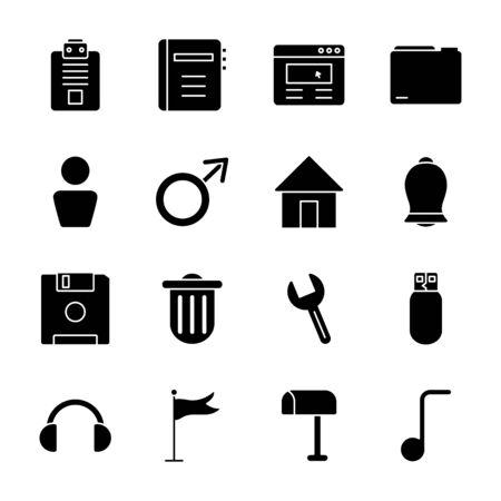 house and web symbols icon set over white background. silhouette style vector illustration. Ilustracje wektorowe